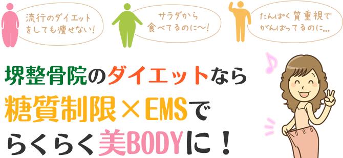 福岡市 堺整骨院のダイエットなら糖質制限×EMSでらくらく美BODYに!