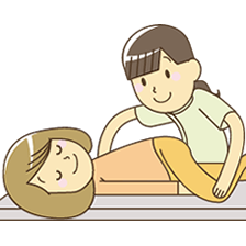 福岡市 堺整骨院で骨盤矯正を受ける女性イラスト