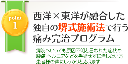 POINT1:西洋×東洋が融合した堺式施術法で行う痛み完治プログラム